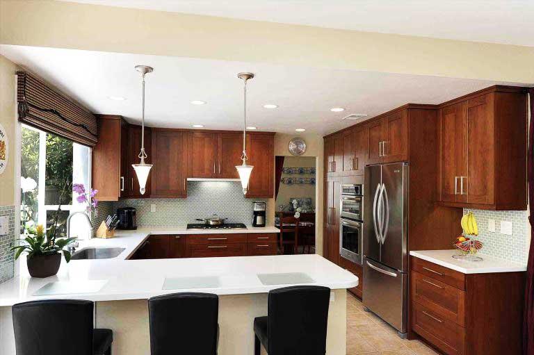 Elegant kitchen with refrigerator