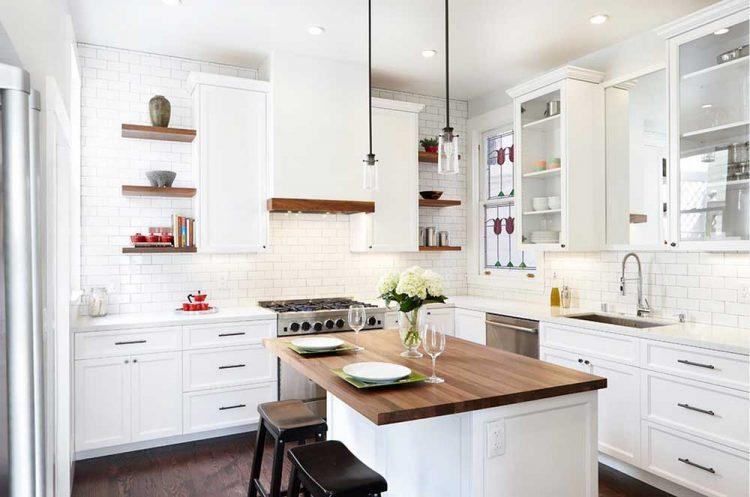 cocinas blancas y madera ideas